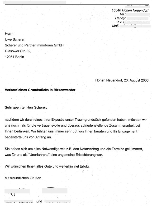 Immobilienmakler in Berlin erhält vom Käufer eines Baugrunstücks Empfehlungsschreiben
