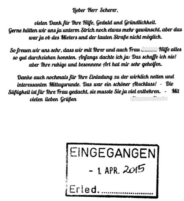 Makler in Berlin erhält Empfehlungsbrief von Verkäufer