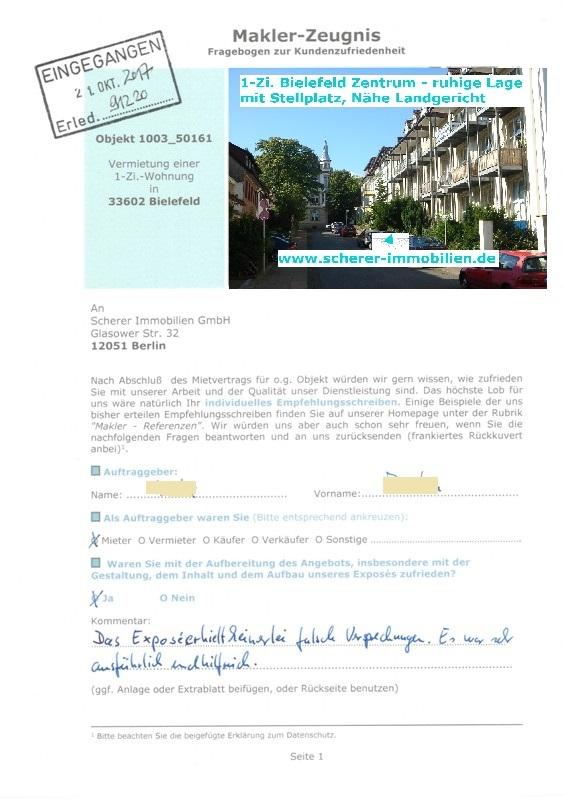 Maklerbewertung Zeugnis von Mieter 91220 für Berliner Makler