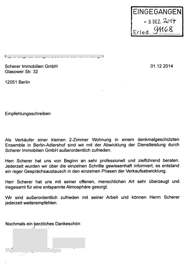 Empfehlungsschreiben an Berliner Immobilienmakler 238