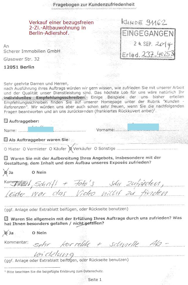 Verkäufer 237 empfiehlt Berliner Makler mit sehr zufrieden