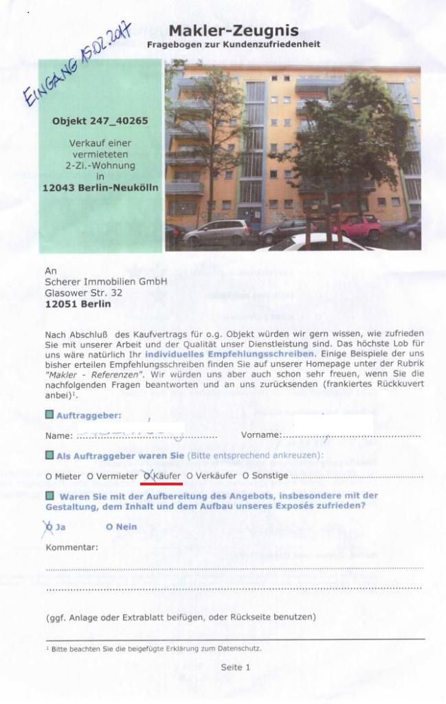Maklerbewertung Käuferin einer Eigentumswohnung Berlin-Neukölln (247_40265)