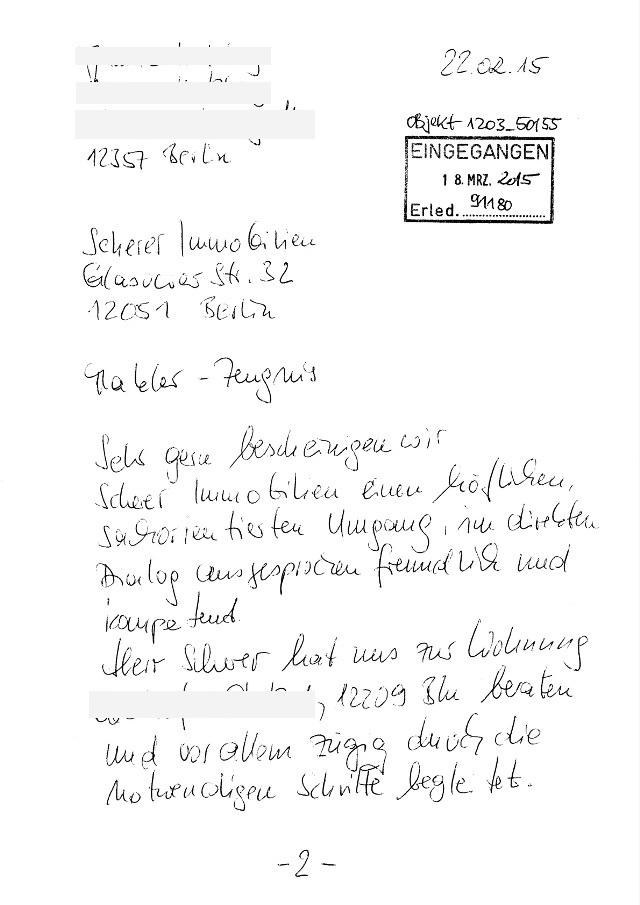 Immobilienmakler in Berlin erhält persönliches Empfehlungsschreiben (91180)