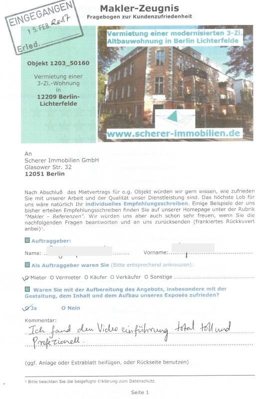 Maklerbewertung Mieter für Mietwohnung Berlin-Lichterfelde (1203_50160)