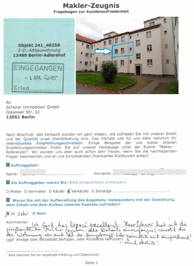 Berliner Immobilienmakler sehr gutes Maklerzeugnis Bewertung (241_40258)