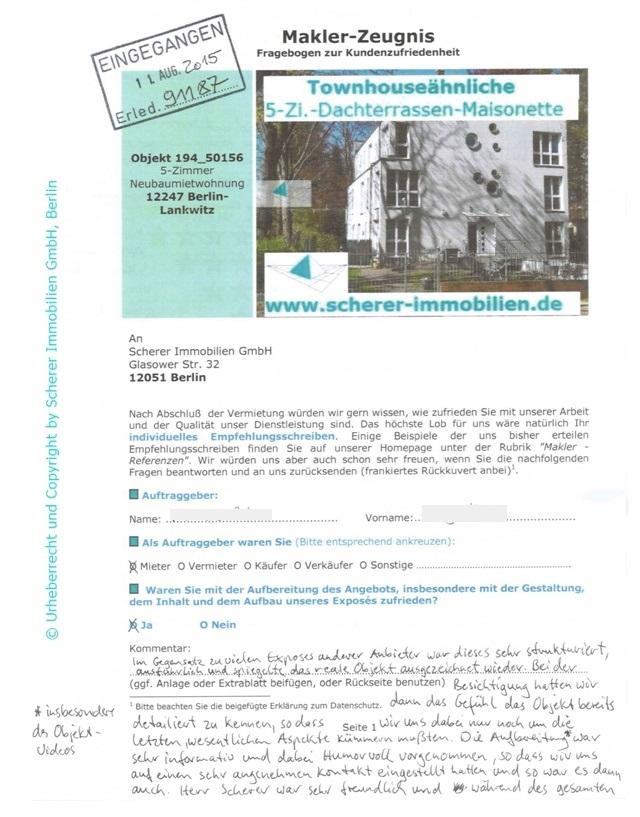 Maklerbewertung Scherer Berlin sehr gut (91187)