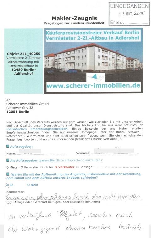 Makler in Berlin erhält für Verkauf Bestnote (241_40259)
