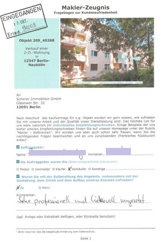Empfehlung Referenz von Verkäufer 91009 für Berliner Makler
