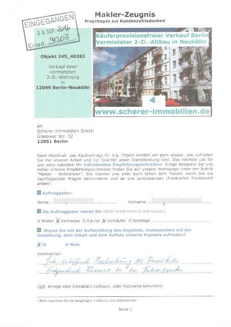 Sehr gute Immobilienmaklerbewertung Vekräufer in in Neukölln (245)