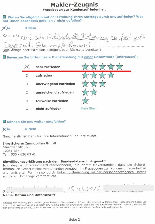 Berliner Immobilienmakler erhält bestmögliche Verkäuferbewertung für Verkauf von ETW in Spandau
