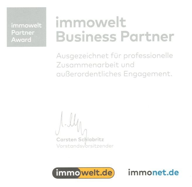Auszeichnung als Immobilienmakler in Berlin von Immowelt
