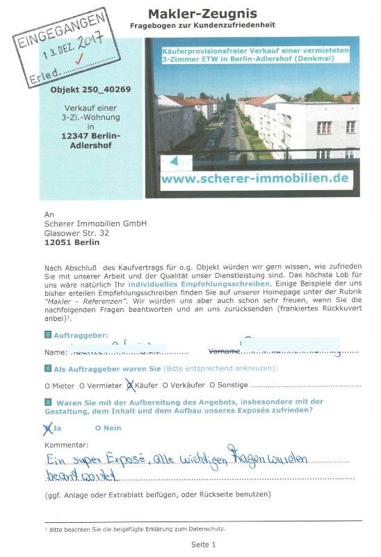 Berliner Maklerzeugnis Adlershof Käufer 91222