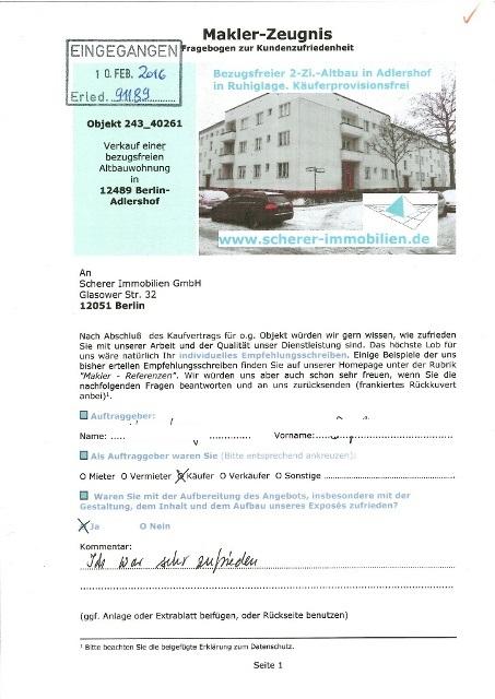 Berliner Maklerzeugnis Bewertung2 Käufer 91189