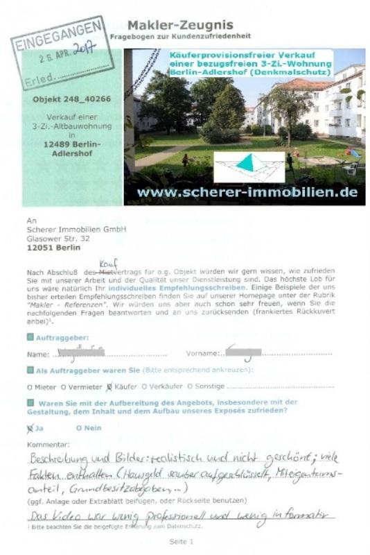 Sehr gute Maklerbewertung durch Käufer einer Wohnung in Berlin-Adlershof (248_91211)