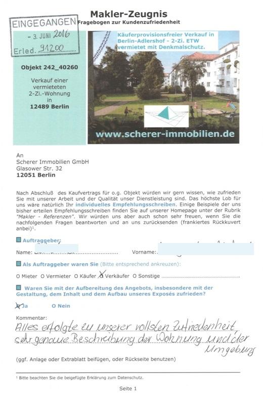 Berliner Maklerzeugnis 91200 sehr gut
