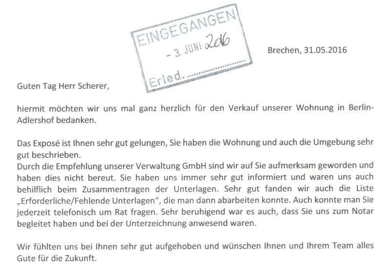 Höchstnote für Immobilienmakler in Berlin (Maklerzeugnis 91200)
