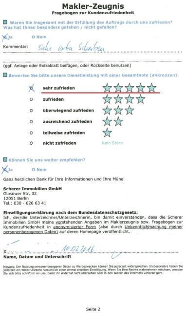 Maklerzeugnis Berlin 91193 - 5 Sterne