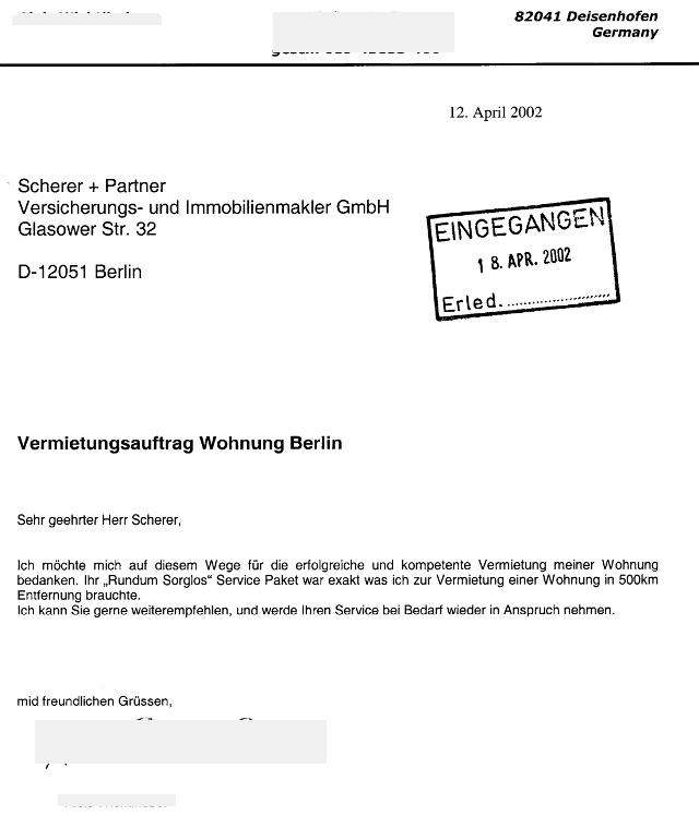 Immobilienmakler in Berlin erhält vom Vermieter einer Mietwohnung in Neukölln eine sehr gute Bewertung (Maklerzeugnis))