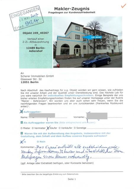 Sehr gute Maklerbewertung Berlin von Käufer 91214